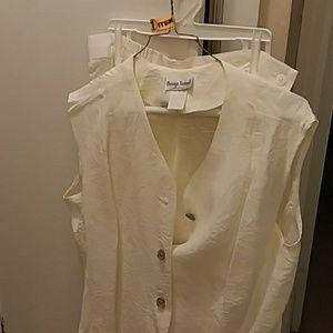 Three piece white pants  suit